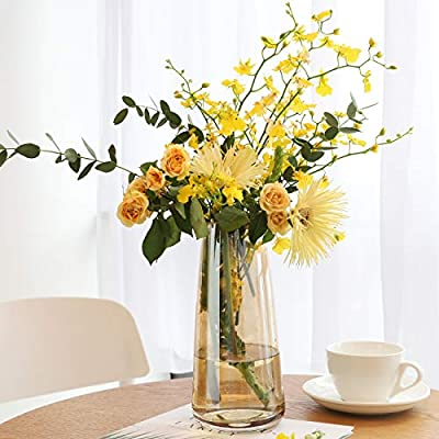 Lewondr Glass Vase, 8.7 Inch Irised Crystal Ins Style Decorative Vase Floral Flower Plant Bud Vase Container Decoration for Office Home Kitchen, Gift for Wedding Christmas Housewarming - Amber