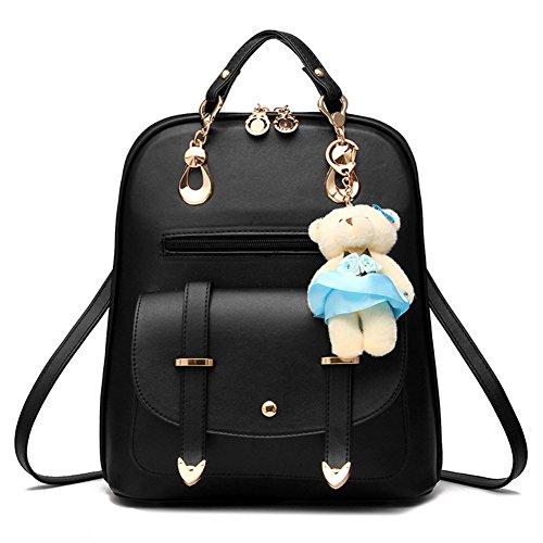 Hynbase Women's Summer Cute Korean Leather Student Bag Backpack Shoulder Bag Black