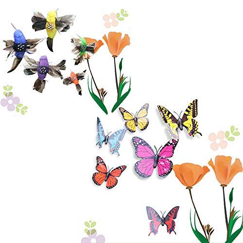 Homefantasy Mariposas LibéLulas Coloridas De JardíN, 2 Pcs Mariposa Solar, PáJaro Solar, Ornamento De JardíN, para Yarda Exterior, DecoracióN De Planta