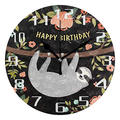 xinfub Happy Birthday Funny Sloth Flower Round Acrylic Wall Clock, Silent Non Ticking Art Painting Clock for Kids Girls Children Bedroom Living Room School Home Decor