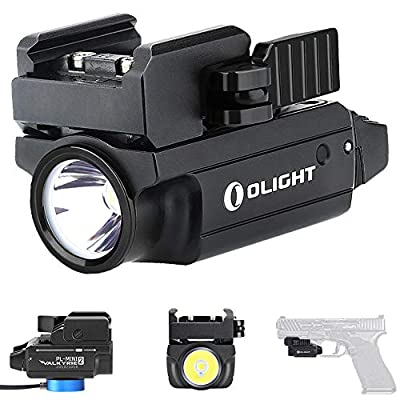 Olight PL-MINI 2 Valkyrie 600 Lumens CW LED Tactical Flashlight Magnetic Rechargeable with Adjustable Rail,Powered by a Built-in Polymer Battery, with SKYBEN Battery Case(Black)