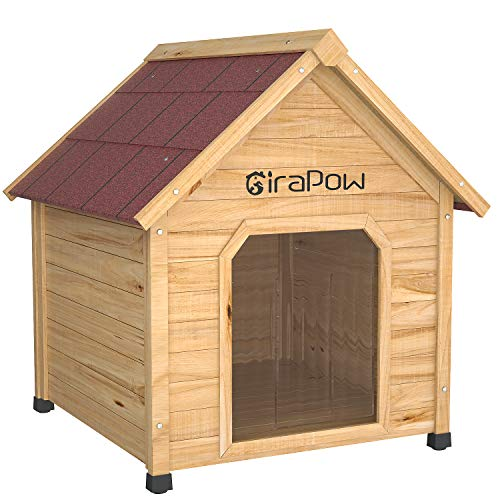 Girapow Extreme Wooden Dog House Pet Log Cabin Kennel Weather Resistant, with Transparent Door Flap, Removable Floor, 27X39X36 Inches, Large