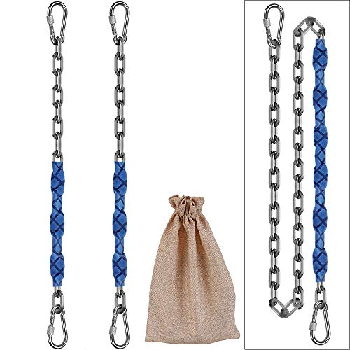 9M 64inch Stainless Steel 304 Permanent Rust Chain (2)+ 4 Free Quick Links, 1000LB Load Bearing, for Swing, Yoga, Hammock, sandbag Suspension.