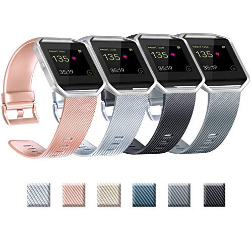 Yandu Correas de repuesto compatibles con Fitbit Blaze, no incluidas Fitbit Blaze y marco (04 Rosegold+Plata+Negro+Gris, S)