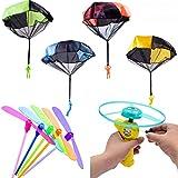 AYUQI Juguete de Paracaídas, 10 Piezas Juguete Paracaídas Set, Mano Que Lanza el Juguete del Paracaidista para niños, Juguetes de Exterior para niños