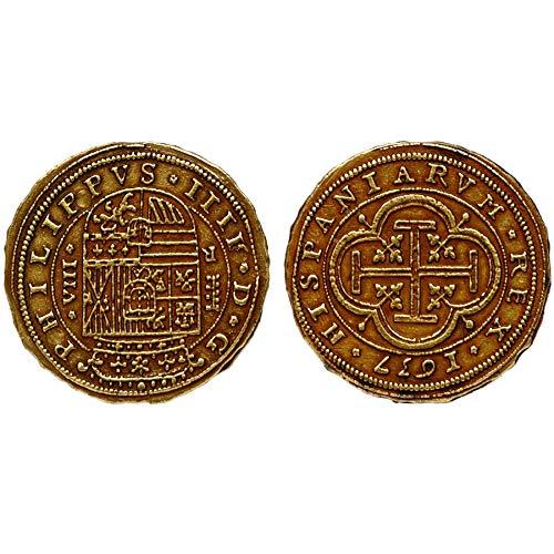 Réplica de color oro Escudos español Armada Bounty monedas tesoro pirata, G73 * * * Una Moneda por pedido * * *