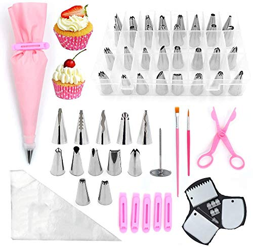 Russian Piping Tips Set 83 Pcs Cake Decorating supplies kit with storage case, DIY baking supplies Set Tool Frosting Utensils Icing cupcake and cookie decorating for Beginners Piping Pastry Nozzle Set