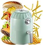 YZPFSD Aire Fryer, 2L 800 vatios eléctrico Horno de Aire Caliente de freidoras y Oilless Cocina for Asar, Timing Cita, controlable Alta Temperatura Antiadherente Cesta, Libre de BPA, Verde Menta