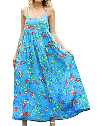 YESNO Women Casual Loose Bohemian Floral Print Dresses Plus Size Spaghetti Strap Long Maxi Summer Beach Swing Dress 5XL E75 CR80