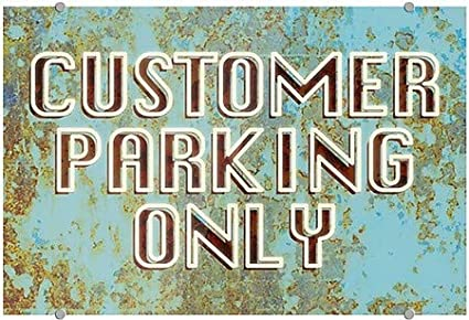 Ghost Aged Blue Premium Brushed Aluminum Sign 36x24 Customer Parking Only CGSignLab
