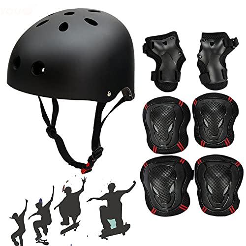 Helme für Skateboarding Schonerset für Skate Skateboard Roller Sport Scooter Kinder Helm Inliner Schoner Erwachsene Skaterhelm Jugendhelme BMX Radfahren Protektoren Set Schutzausrüstung (48-52 cm)