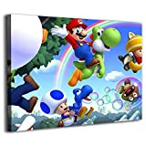 Canvas Paintings Wall Art Wall Mural Wallpaper Decal Stickers for Home Walls imagenes de Mario bros Room Home Decor 36x20inch