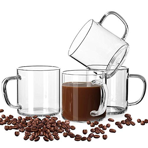 LUXU Glass Coffee Mugs Set of 4,Large Wide Mouth Mocha Hot Beverage Mugs(14oz),Clear Espresso Cups with Handle,Lead-Free Drinking Glassware,Perfect for Latte,Cappuccino,Hot Chocolate,Tea and Juice