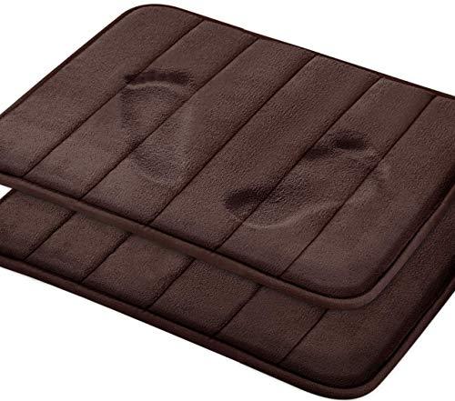 Utopia Home 2-Pack Memory Foam Foam Bath Mat Antiscivolo Back, Morbidezza in Pile di Corallo, Altamente Assorbente (Cioccolato, 43x60 cm)