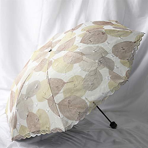 Dos Flor Sra Doble Capa de Malla de Paraguas sombrillas Hoja Vinil Paraguas Doble Paraguas de Doble Uso (Color : Kl1504 Large Leaves Khaki)