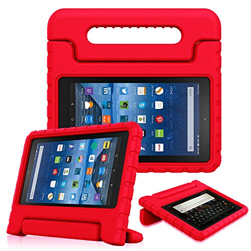 Fintie Shock Proof Case for All-New Amazon Fire 7 Tablet (7th Gen, 2017) - Kiddie Series Light Weight Convertible Handle Stand Kids Friendly Cover, Compatible with Fire 7 (5th Gen, 2015), Red
