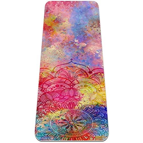 Estética colorida Mandala antideslizante Yoga Mat viaje TPE ejercicio Mat para todo tipo de yoga, pilates, interior y exterior ancho alfombrillas de entrenamiento para mujeres y niñas