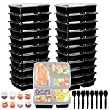 Jovego [24 Pcs] Meal Prep Containers with Lids, 3 Compartment Food Containers Reusable