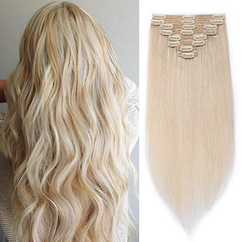 Extension Capelli Veri Clip Doppia Tessitura Double Weft - Lunga 50cm Pesa 150g #70 Bleach White - 8 Fasce Full Head 100% Remy Human Hair Naturali