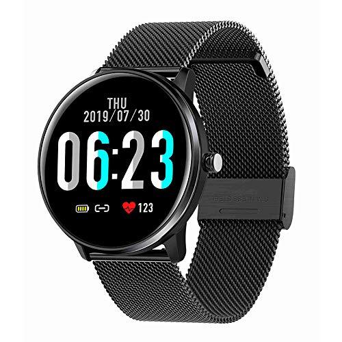 Cobeky MX6 Smart Watch Herren Damen 1,3 Zoll Presse Herz Frequenz Messer Wetter IP68 Sport Uhr für IOS Android Schwarzes Stahlband