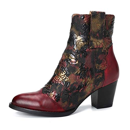 Gracosy Bottines Cuir Femmes Talons, Chaussures de Ville Hiver à Talons Confortable Bottes Santiags Habillé Zip Boots Originales Bohème Colorées 2019, Rouge, 41 EU