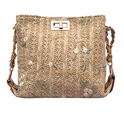 Bolso de bandolera de paja tejido a mano Bolso con bordado con estilo de flor simple y elegante Bolso de bandolera con un solo hombro (Caqui)