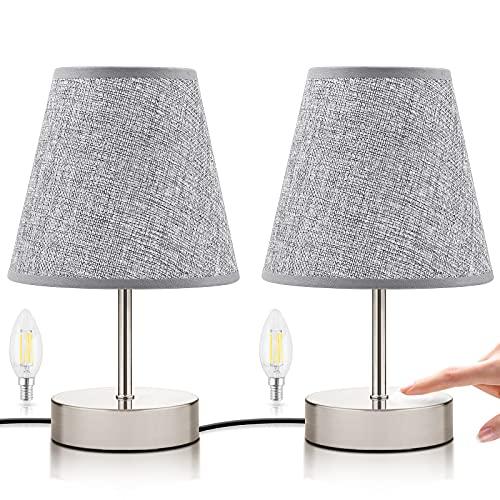 Lampada da Comodino Touch, 2 Pezzi Lampada da Scrivania dal Design Classico, con Controllo Touch Dimmerabile, 3 Modalità di Illuminazione, Perfetta per Ufficio, Camera da Letto, Hotel (Grigio)