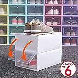 Transparente Farbe Stapelbare Schuhkarton Schuhbox, 6-er Set, Schublade Faltbare Plastik Aufbewahrungsbox Mit Deckel, Schuhaufbewahrung Schuhorganizer for Damen Und Herren