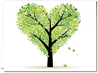 Thank You Cards with Envelopes – 36-Pack – Tree of Love – Blank Cards, Greeting Cards, Stationary – Green Envelopes – Glossy Cover – by Note Card Café