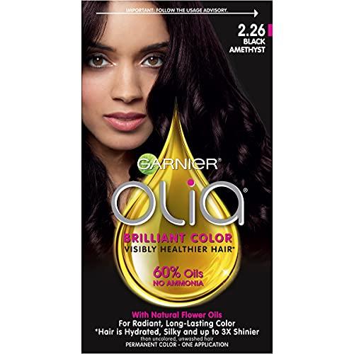 Garnier Olia Permanent Hair Color with Non-Drip Velvet Cream Formula, Bold Collection, Ammonia Free Dye, 2.26 Black Amethyst