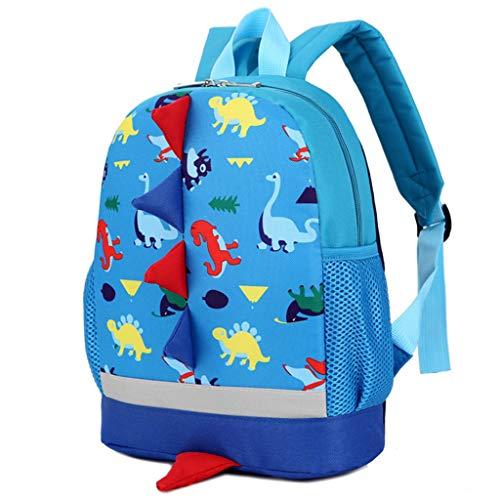 BAIGIO Mochila Infantil Kindergarten,Pequeñas Mochilas Bolsas Escolares Animales para Niñas Primaria Linda Mochila Dinosaurio 3D Guarderia Preescolar para 2-7 Años (Azul 2)