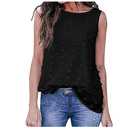 Qigxihkh Mädchen Damen Sommer bequem lässig süß vielseitig Mehrfarbig Mode ärmellose Tank Rundhalsausschnitt einfarbig T-Shirt Weste Top(1-Schwarz, XL)