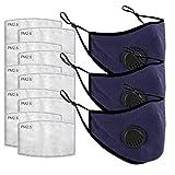 eiuEQIU 3X Premium Baumwolle -Mundschutz Wiederverwendbar, Hochwertiges Multifunktionstuch Waschbar, Sommer Atmungsaktive Staubdicht Bandana Halstuch für Damen, Herren mit 10 Filter