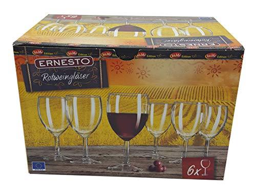 Ernesto 24 Stück 4X 6er Set Rotweingläser Rotwein Wein Glas Klassisch Inhalt Volumen 240 ml