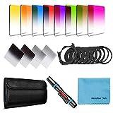 Fotover - Kit de filtros cuadrados, 14 unidades, graduados ND color, para Cokin P Series con anillos adaptadores (49-82 mm), bolígrafo limpieza lentes y otros accesorios cámaras DSLR