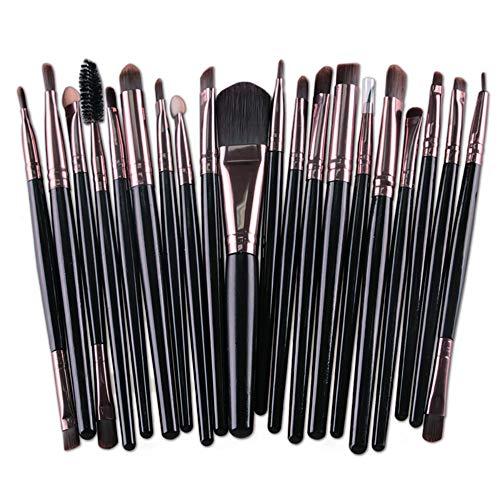 Edary Pinceaux De Maquillage 20 Pinceaux De Maquillage Pour Les Yeux Poudre Fond De Teint Pinceau Beauté Outils (Noir)
