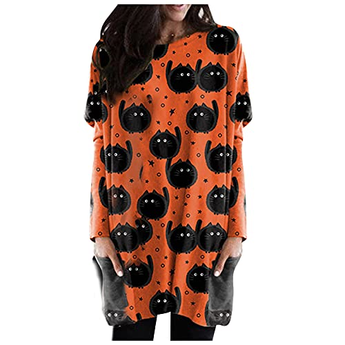 Sweatshirts for Women Tops O-neck Funny Halloween Long Sleeve Lightweight Casual Loose Oversized Pullover Blouse with Pocket (Q-Orange, M)