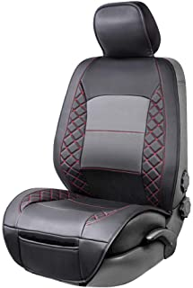 AmazonBasics Deluxe Sideless Universal Fit Leatherette Seat Cover, Black with Red Diamond Pattern