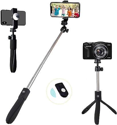 Homeet 2-en-1 Mini Tr/épied M/étallique de Table avec 73CM Selfie Perche Extension Stick avec 1//4 3//8 Vis Stabilisateur LED Flash Monopode T/élescopique pour Appareil Photo Perche Selfie de Tr/épied