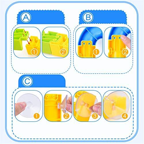 YakeHome Badespielzeug 60PCS / Set Babyparty Badewanne Spielzeug DIY Rutsche Wasserfall Spur zur Wand mit Saugnapf Rädern für Jungen Mädchen Kinder
