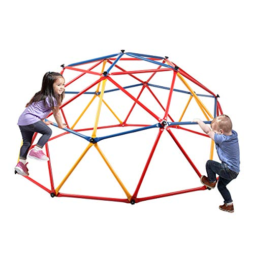Sandinrayli Outdoor Climbing Frame Dome Climber Playground Monkey Bars Play Set Jungle Gym, Red + Yellow + Blue