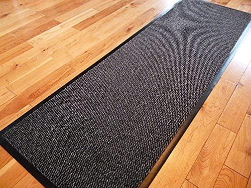 TrendMakers Dirt Stopper Carpet Runner 60cm x 160cm Grey/Black.With Non-Slip Back For Home office Kitchen