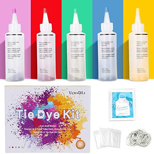 Ucradle Tie Dye Kit, 5 Stück Stoff Textilfarben, Tie Dye Kit Vibrant Stoff Textilfarben mit 40 Stück Gummi Band und 1Vinyl Tischdecke