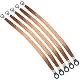 ToToT 5pcs 300mm Braided Ground Strap Automotive Engine Copper Ground Strap Wire with Terminals Plugs