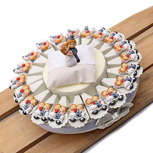 Torta Bomboniere Sposi su Vespa per Matrimonio Magnete Tema Viaggio 20 Bomboniere (TR1120M)