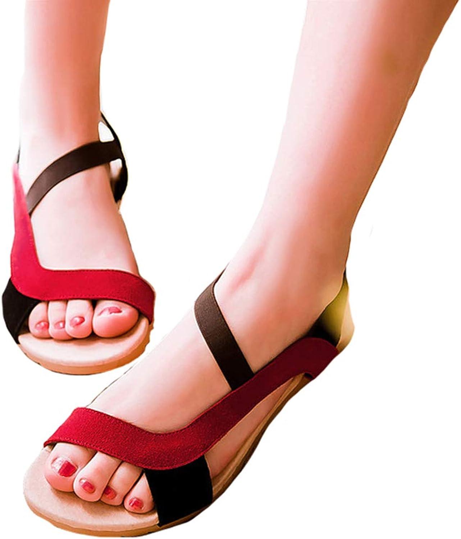 Women Flatform Sandals Korean Version Sandal Comfy Buckle Breathable shoes Leather Casual shoes,Red,40