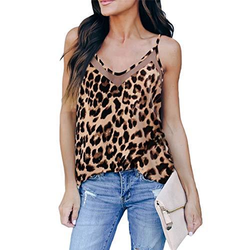 Vrouwen Halter Tank Tops V-Hals Strappy Loose Hemdje Vesten Blouse Shirt,Leopard,3XL