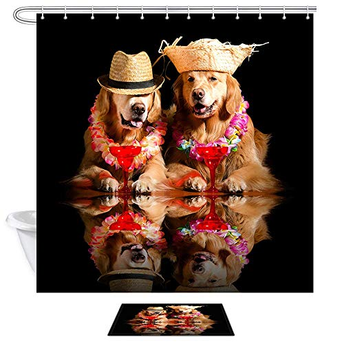 JoneAJ Colchoneta para Cortina Ducha para Perros Dos Perros con Sombreros Paja y Coronas descansan Frente a Copas Vino Juego Cortinas baño Tela Navidad 71x71 Pulgadas con Alfombra baño 40x60cm