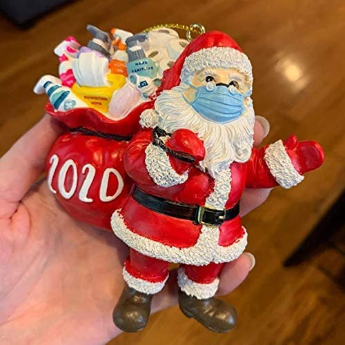 XBRN 2020 Santa Claus Ornaments, Christmas Tree Decoration Pendant, Santa Claus with Face Cover Tradition Home Decor for Family,Santa Wearing_Mask in Quarantine Keepsake-2Pack
