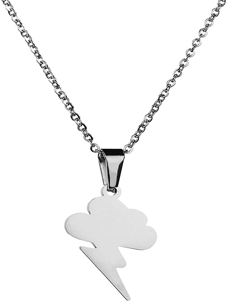 RZCXBS Thunder Necklace Hypoallergenic Surgical Stainless Steel Storm Cloud Lightning Pendant Necklace